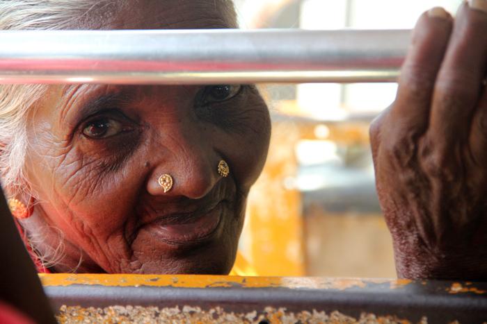 Elderly Woman on a Bus, Pusselawa, Sri Lanka