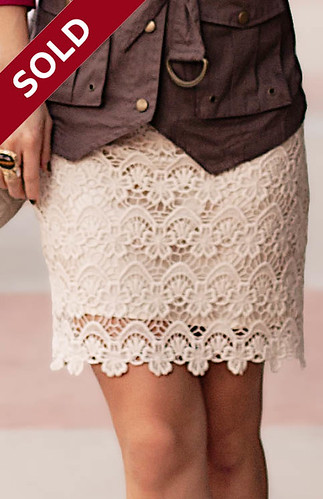 Lulu's National Lace Cream Skirt