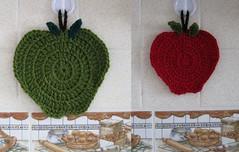 Apple potholders - Agarraderas manzanas (Lauris196) Tags: apple manzana crochet potholder agarradera