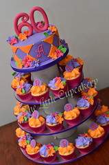 Vibrant 60th Cupcake Tower (TheLittleCupcakery) Tags: pink orange tower cake cupcakes purple little vibrant fuschia cupcake 60th tlc cupcakery klairescupcakes