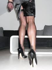 R0011922 (nylongrrl) Tags: ass stockings garter shiny highheels legs manhattan butt skirt glossy upskirt heels outline satin stiletto ph ankle pantyhose nylon nylons garterbelt seams collant seamed