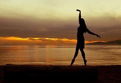 Vancouver Ballet Dancer (Claude Schneider) Tags: sunset sea ballet reflection beach water silhouette night vancouver outside model ballerina photoshoot dancer barefoot stanleypark secondbeach arabesque
