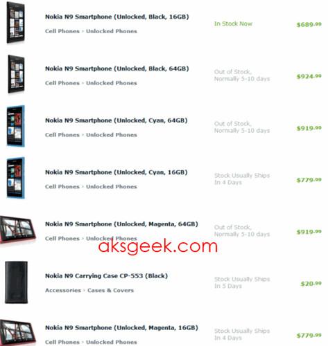 Unlocked Nokia N9 list