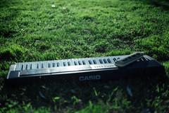 [フリー画像素材] 物・モノ, 楽器, シンセサイザー, 芝生 ID:201111140400