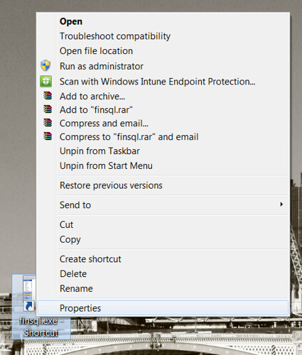 Dynamics NAV Desktop Shortcut - Properties