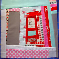 Nov block: Block Party Bee (Sew Awesome) Tags: logcabin sherbetpips quiltbeeblock