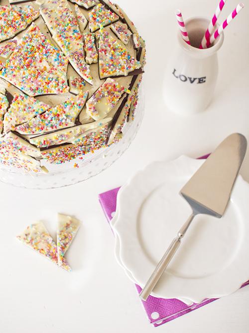 vanilla malt sprinkle bark cake