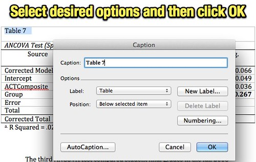 Select desired options and then click OK