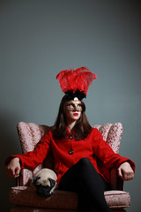 I Sit. (Jennifer Kehl) Tags: pink red portrait dog canon 50mm chair mask buttons pug jacket masquerade canon5d