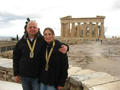 Phil and I in front of the Pathanon (Markj9035) Tags: original marathon athens greece olympic olympicstadium 29th athensclassicmarathon originalolympicstadium panathanikos 29thathensclassicmarathon