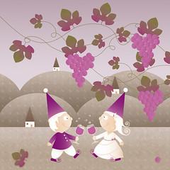 September (cupofsnowflakes) Tags: autumn illustration glasses vineyard calendar wine hills grape 2012