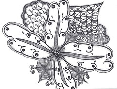 Cherry Flower (BellatrixTangles) Tags: pattern drawing line tangle zentangle
