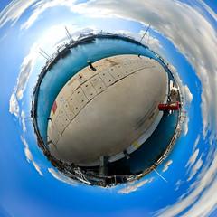 Flisvos marina little planet - near Athens, Greece (amfipolos) Tags: marina photoshop boat 360 sonycybershot flisvos polarcoordinates θάλασσα littleplanet polarpanorama stereographicprojection μαρίνα φλοίσβοσ