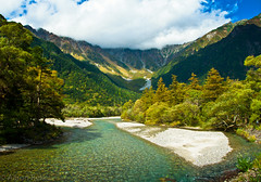 - Kamikochi (Aaron Reker) Tags: autumn trees orange mountain alps green fall nature japan river october hike nagano kamikochi lightroom japanesealps d90  azusariver kappabridge