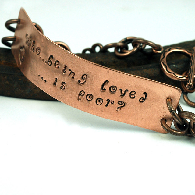Copper poetry bracelet