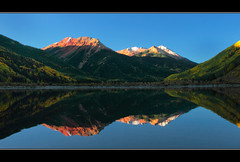 Red Mountain Reflections (RondaKimbrow) Tags: autumn trees lake reflection fall telluride redmountain sanjuanmountains falltrees ouray hwy550 lakereflections cristallake