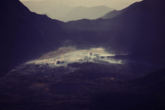 Mount Rinjani Trek #4 - The Morning Fog (lukas kozmus) Tags: morning light sun mountains fog forest indonesia photography licht photo asia asien ray foto fotografie picture pic berge valley lukas bild sonne wald indonesien tal the hgel 2011 strahlen lomobk kozmus lukaskozmus