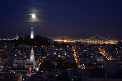 Coit Tower and (almost) full moon (spieri_sf) Tags: sanfrancisco california longexposure moon tower night lowlight full coit russianhill