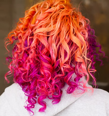 Day 325 of 365 - Year 2 (wisely-chosen) Tags: selfportrait me october canon50mmf18 pinkhair orangehair purplehair cameraraw 2011 365days multicoloredhair naturallycurlyhair manicpanicpurplehaze manicpanicelectricbanana curlformers adobephotoshopcs5extended manicpanicrocknrollred redkensmoothdownbuttertreatment onenonlyarganoiltreatment laceitbykamelianarganoildeepconditioner