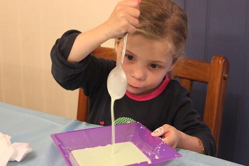 Amelia pouring slime