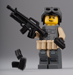 Out of Ammo! Reloading! (~Ghost Soldier~) Tags: with prototype mags gl brickarms m16a1 toywiz