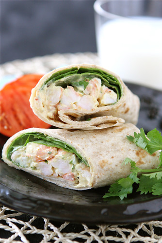 Healthy-Shrimp-Sandwich-Wrap-with-Curry-Yogurt-&-Spinach-Recipe-Cookin-Canuck