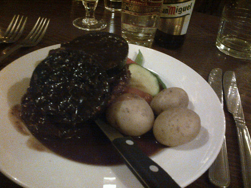 Ribeye with port sauce and black pudding...