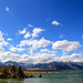 Mono Lake and the blue partly cloudy sky.