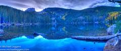 bear lake (Michael Leggero) Tags: park autumn trees mountain lake storm reflection fall water rock clouds river dark pond log colorado unitedstates national northamerica rockey