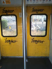 Phone Photo 78 04-11-11 (Mysterious Ways13) Tags: street door flowers sky plants sun sunlight reflection metal wall train writing garden graffiti frames photos platform line bin cups tiles frame question sail bonjour planks sydneyoperahouse postitnote