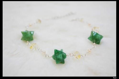 綠東菱&黃水晶魔卡巴手鍊