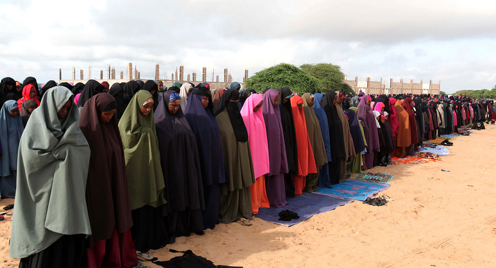 Muslim women attend prayers on the first day of Eid al-Adha in Somalia's capital