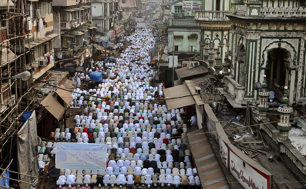 Indian Muslims attend outdoor prayers to mark the festival of Eid-al-Adha in Mumbai