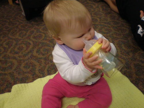 Holding her own bottle