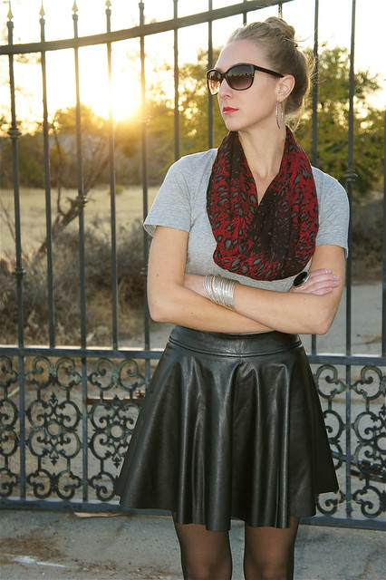 Leather skirt with t-shirt