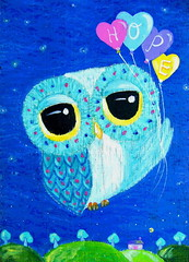 Owl Art - Hope Lifts Me Higher (Udonchow Cute Owl Art And Gifts) Tags: blue house mountain cute bird girl night print children hope hill nursery balloon owl etsy inspirational owldrawing owlart udonchow ellenchia cuteowlart