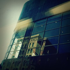 Market Street, Philadelphia (lucymagoo_images) Tags: city urban reflection building philadelphia mobile contrast square samsung philly marketstreet android magichour sght959 magichourapp lucymagoo lucymagooimages