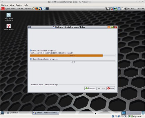 Copying files while installing bliss on Solaris