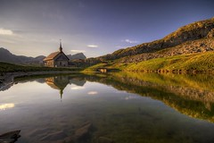 Chapel of Melchsee-Frutt (Philippe Saire || Photography) Tags: mountain lake alps reflection nature water architecture montagne alpes canon landscape eos switzerland eau suisse lac sigma wideangle chapel 7d 1020mm paysage reflets chapelle hdr gettyimages melchseefrutt photomatix philippesaire