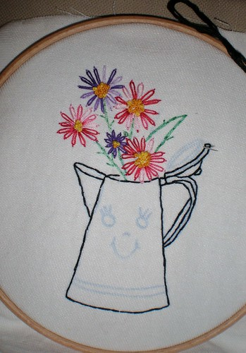 Embroidered coffee pot