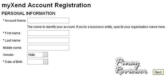 Fill up your account information