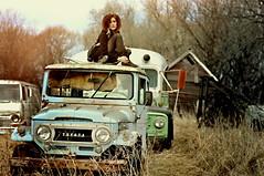 (emmakatka) Tags: blue portrait house selfportrait cars abandoned girl car self farm 14 north emma lot toyota mm 50 dakota abandonment katka intothewild