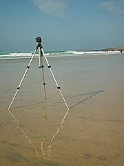 Tripod Waiting for Action Fistral Newquay (Cornishcarolin. Just moved house!! BUSY!!! xxxxxx) Tags: cornwall newquay 10shotstofame mygearandme fistralbeachnewquay level1photographyforrecreation ashbyphotographicgroup
