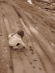 (Damaya Hoffman) Tags: playing cold sepia fun puddle child littlegirl chilly puddles muddy pinecones childlike