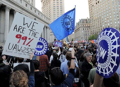 "Unions gather on Wall Street to support the movement demanding economic justice. ""Occupy Wall Street"" has drawn the attention of people throughout the U.S. and the world. by Pan-African News Wire File Photos"