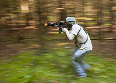 Running through woods (U.S. Army Europe Images) Tags: military multinational usarmyeurope opfor bumgardner opposingforces 173rdairbornebrigadecombatteam fste fullspectrumtrainingevent andersonmoser