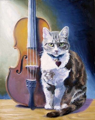 painting of a viola and a cat