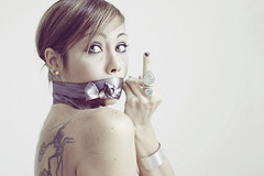 Mala tempora currunt (mickiky) Tags: woman selfportrait me myself donna censorship autoritratto remotecontrol autoscatto censura censor leggebavaglio