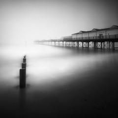 Five Seagulls (Andy Brown (mrbuk1)) Tags: ocean longexposure mist seascape beach water lines birds fog reflections square dawn mono pier vanishingpoint blackwhite sand shadows perspective devon shore posts frontpage groyne teignmouth leefilters bwnd110