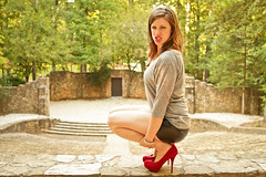 A Fall Afternoon (Dan | Hacker | Photography) Tags: beauty model highheels legs northcarolina chapelhill unc redheels pinklipstick nars foresttheater platformheels leathershorts